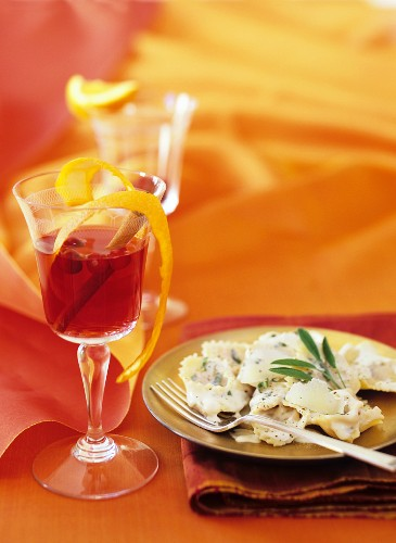 Pumpkin ravioli and cranberry drink