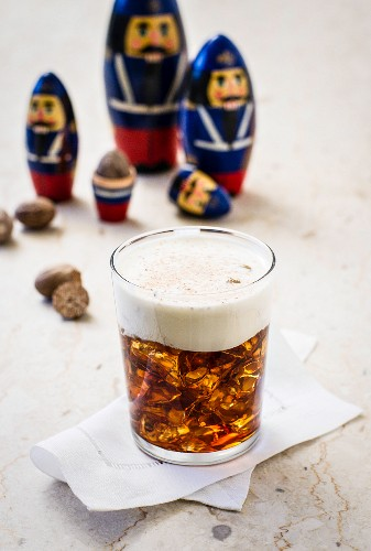 A White Russian cocktail with vodka and coffee liqueur