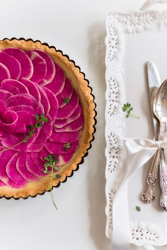 Watermelon radish tart