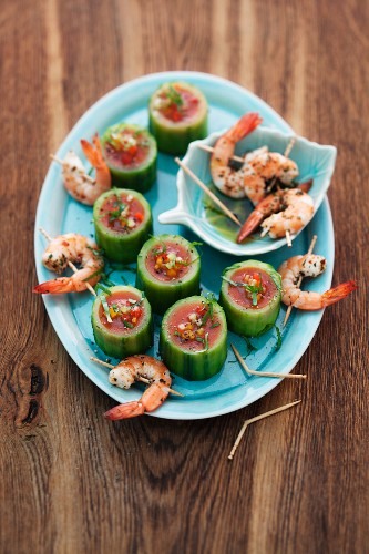 Cucumber gazpacho with shrimp