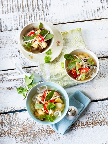 Pho soup with rice noodles, baby corn and chillies (Vietnam)