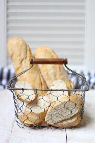 Baguettes in a wire basket