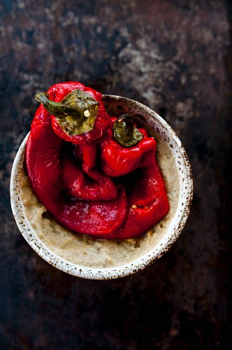 Baked red pepper in a bowl