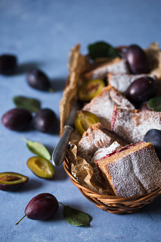 Plum cake in a basket