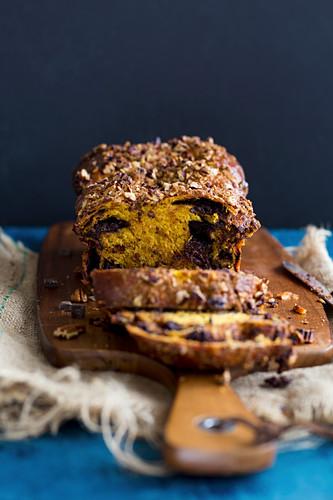 Chocolate babka (yeast cake, Eastern Europe) with butternut squash