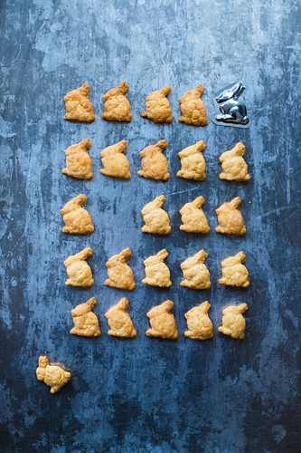 Easter bunny-shaped cheese biscuits