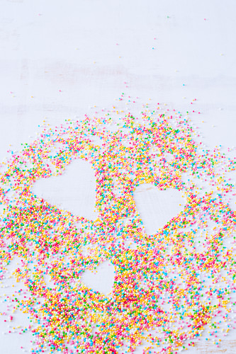Colorful sprinkles with heart shapes