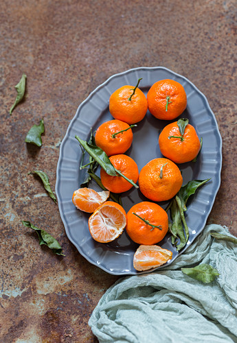 Mandarins on a serving platter