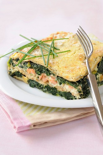 Salmon and spinach lasagnes