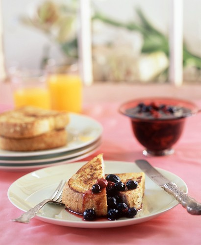 French toast with berry compote, orange juice (USA)