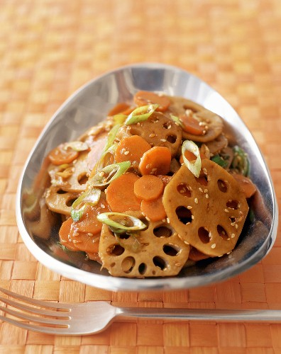 Lotus roots with carrots and sesame