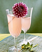 Weisswein-Pfirsich-Drink in zwei Gläsern
