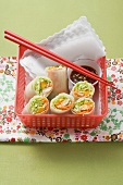 Spring rolls with mango and smoked trout filling