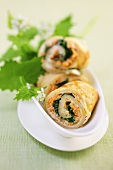 Crepe rolls filled with herbs