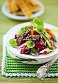 Bunter Salatteller mit Rindfleischstreifen und Avocado