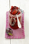 Plum jam in a jar