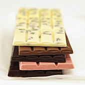 Chocolate bars with different flavours