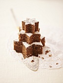 Brownie tree on a cake server