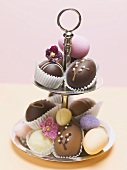 Easter sweets on tiered stand