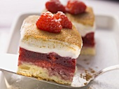Raspberry cake with a sweet and sour cream topping