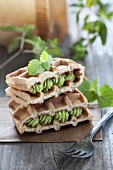 Waffles filled with apple matcha cream