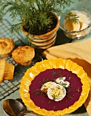 Beet Soup with Fresh Dill; Hard Boiled Eggs