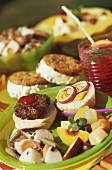 Hamburger Platter with Fresh Fruit and Potato Salad