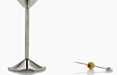 Chrome Martini Glass Stem with Skewered Olive