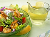 Shrimp Salad in Glass Bowl with Lemon