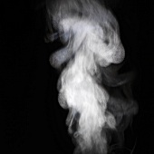 Steam against a black background