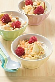 Fruit muesli in three bowls