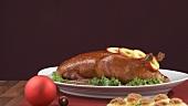 Rotkohl, Kartoffelknödel und Entenbraten zu Weihnachten
