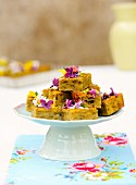 Green buttermilk cake with edible flowers
