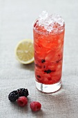 A berry cocktail with crushed ice
