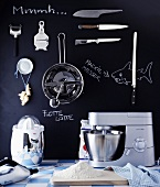 Various kitchen utensils and devices (mechanical and electric) and flour