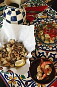 Tapas: fried squid, tortilla and prawns