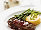 Grilled Steak with Asparagus and Carrot Custard