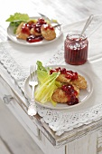 Fried oscypek (smoked sheep's cheese from Poland) with cranberry jam