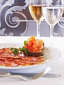 Bruschetta and carpaccio of Iberian ham