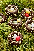 Schokoladenosternester im Moos