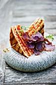 Club sandwich with vegetable crisps