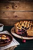 Rustic Balsamic Cherry Pie already cut