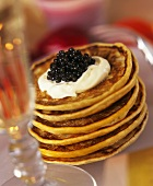 Pancakes with caviare and crème fraiche