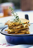Small pumpkin & potato rosti with thyme and crème fraiche