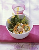 Courgette & melon salad with carrots, sweetcorn & turkey