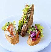 Baguette with deli salads and wholemeal sandwich