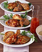 Spicy chicken platter with sesame