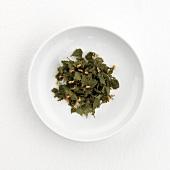 Birch leaf tea (dry) on plate