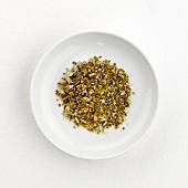 Mistletoe tea (dry) on plate