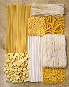Various types of pasta arranged in a rectangle